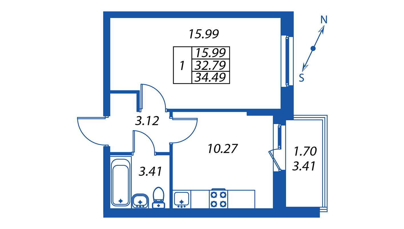 Планировка Однокомнатная квартира площадью 32.8 кв.м в ЖК ««Полис на Комендантском»:-:ЖК Полис на Комендантском, корпус 1»