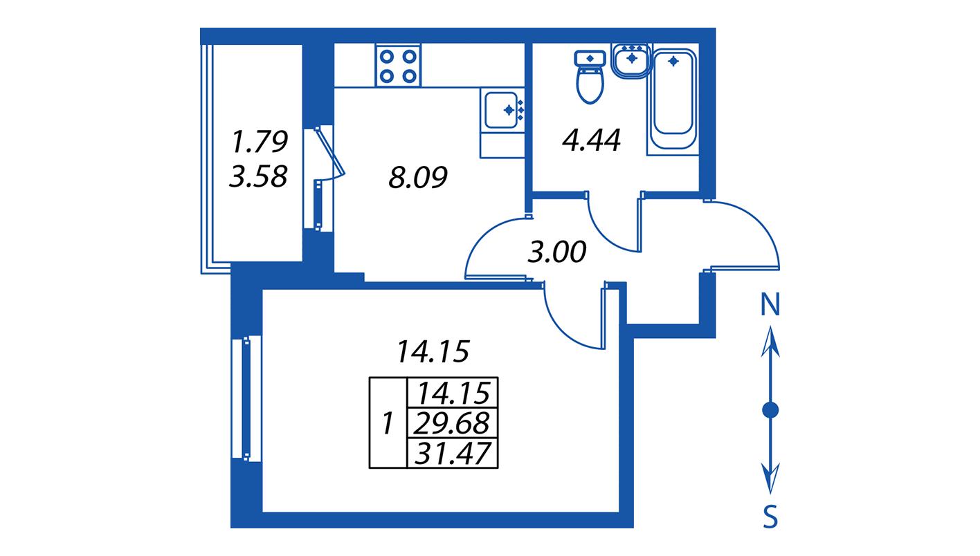 Планировка Однокомнатная квартира площадью 29.7 кв.м в ЖК ««Полис на Комендантском»:-:ЖК Полис на Комендантском, корпус 2»
