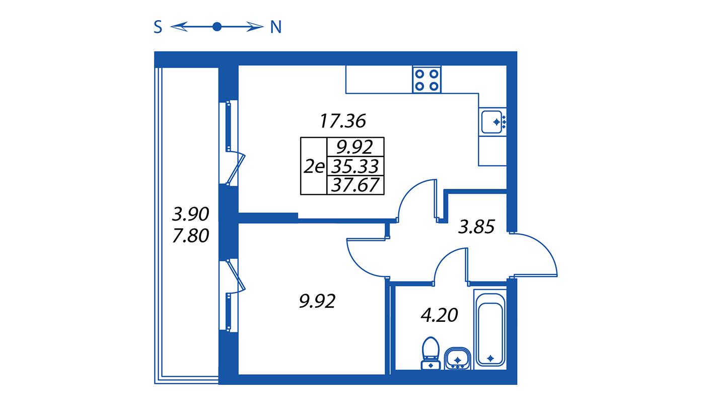 Планировка Двухкомнатная квартира площадью 35.3 кв.м в ЖК ««Полис на Комендантском»:-:ЖК Полис на Комендантском, корпус 2»