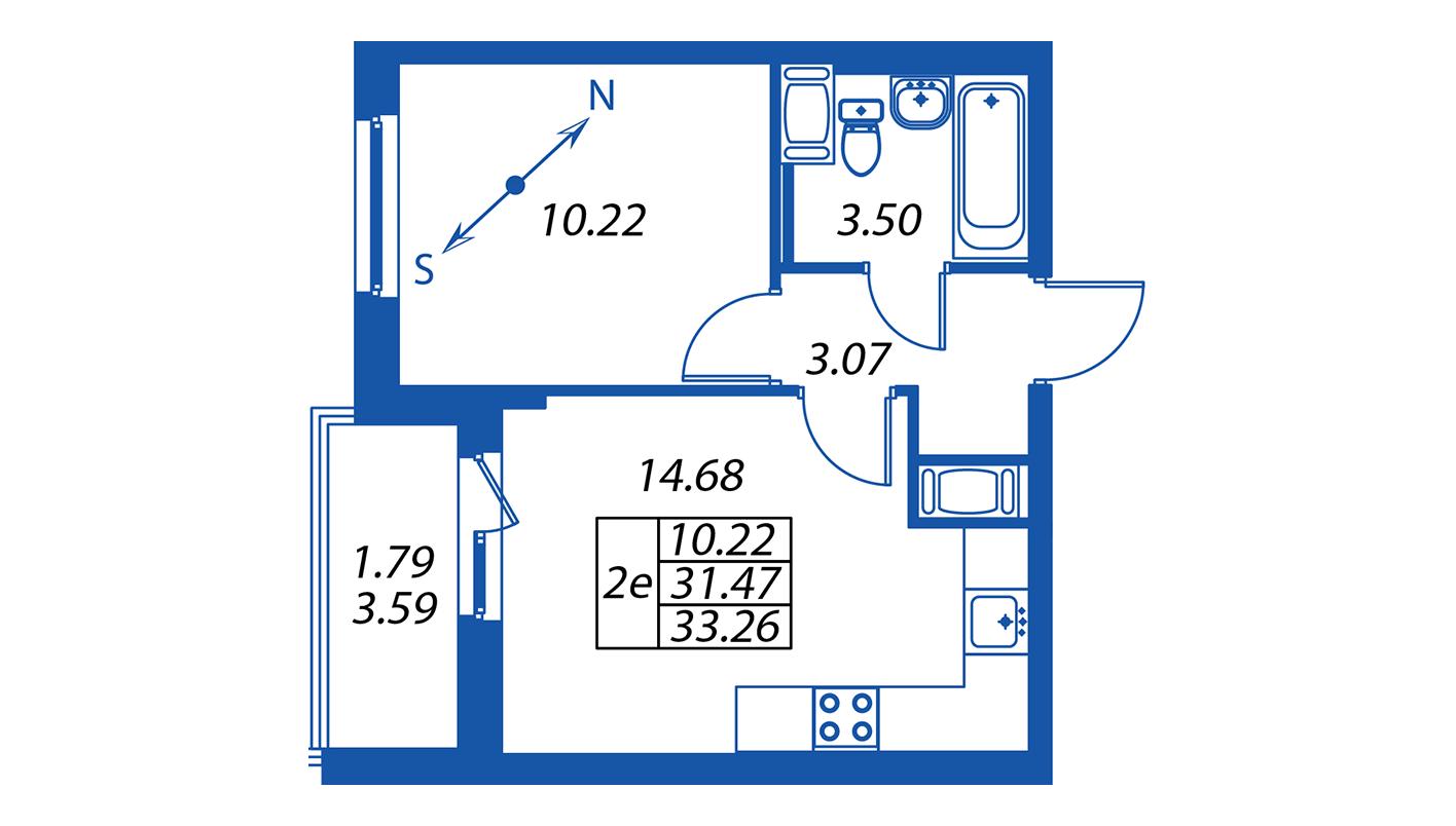 Планировка Двухкомнатная квартира площадью 31.4 кв.м в ЖК ««Полис на Комендантском»:-:ЖК Полис на Комендантском, корпус 1»