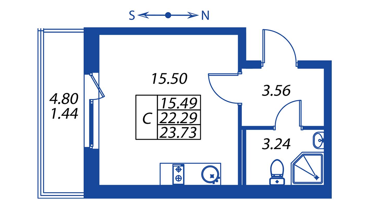 Планировка Студия площадью 22.3 кв.м в ЖК ««Полис на Комендантском»:-:ЖК Полис на Комендантском, корпус 2»
