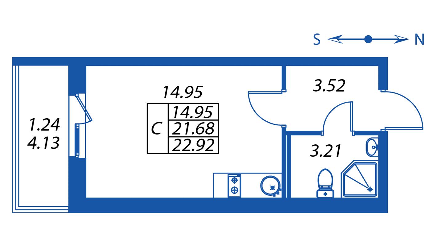 Планировка Студия площадью 21.7 кв.м в ЖК ««Полис на Комендантском»:-:ЖК Полис на Комендантском, корпус 2»