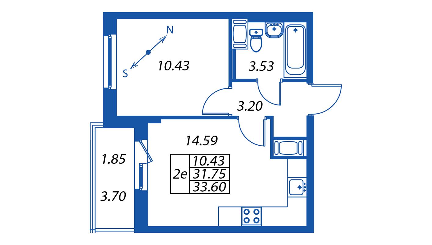 Планировка Двухкомнатная квартира площадью 31.6 кв.м в ЖК ««Полис на Комендантском»:-:ЖК Полис на Комендантском, корпус 1»