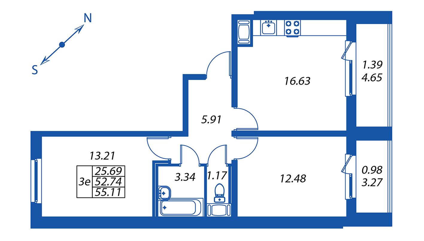 Планировка Трёхкомнатная квартира площадью 52.8 кв.м в ЖК ««Полис на Комендантском»:-:ЖК Полис на Комендантском, корпус 1»