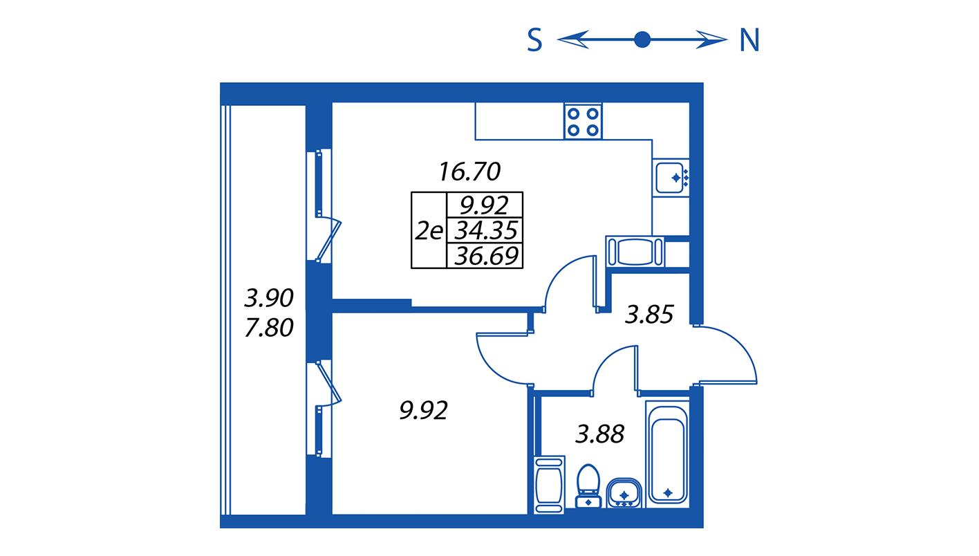Планировка Двухкомнатная квартира площадью 34.4 кв.м в ЖК ««Полис на Комендантском»:-:ЖК Полис на Комендантском, корпус 2»