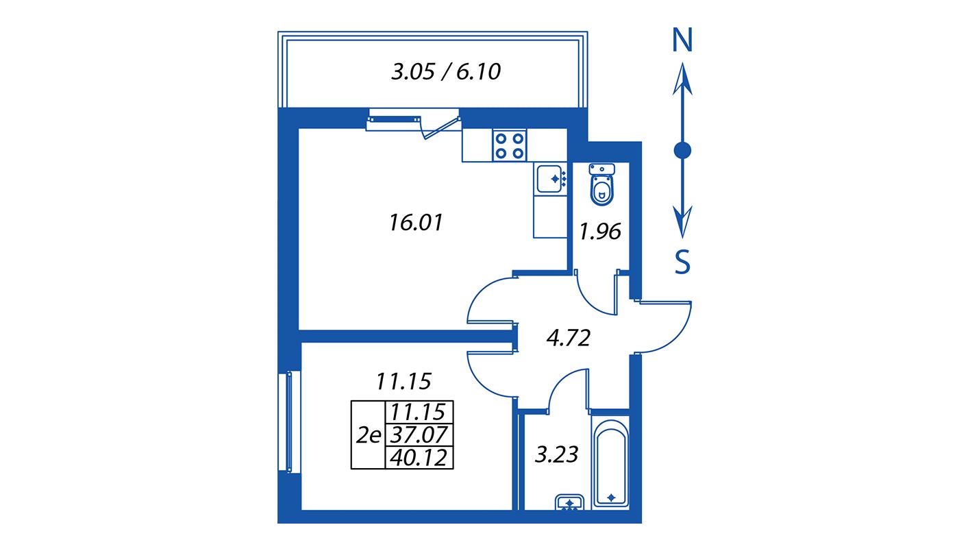 Планировка Двухкомнатная квартира площадью 37.1 кв.м в ЖК ««Полис на Комендантском»:-:ЖК Полис на Комендантском, корпус 2»