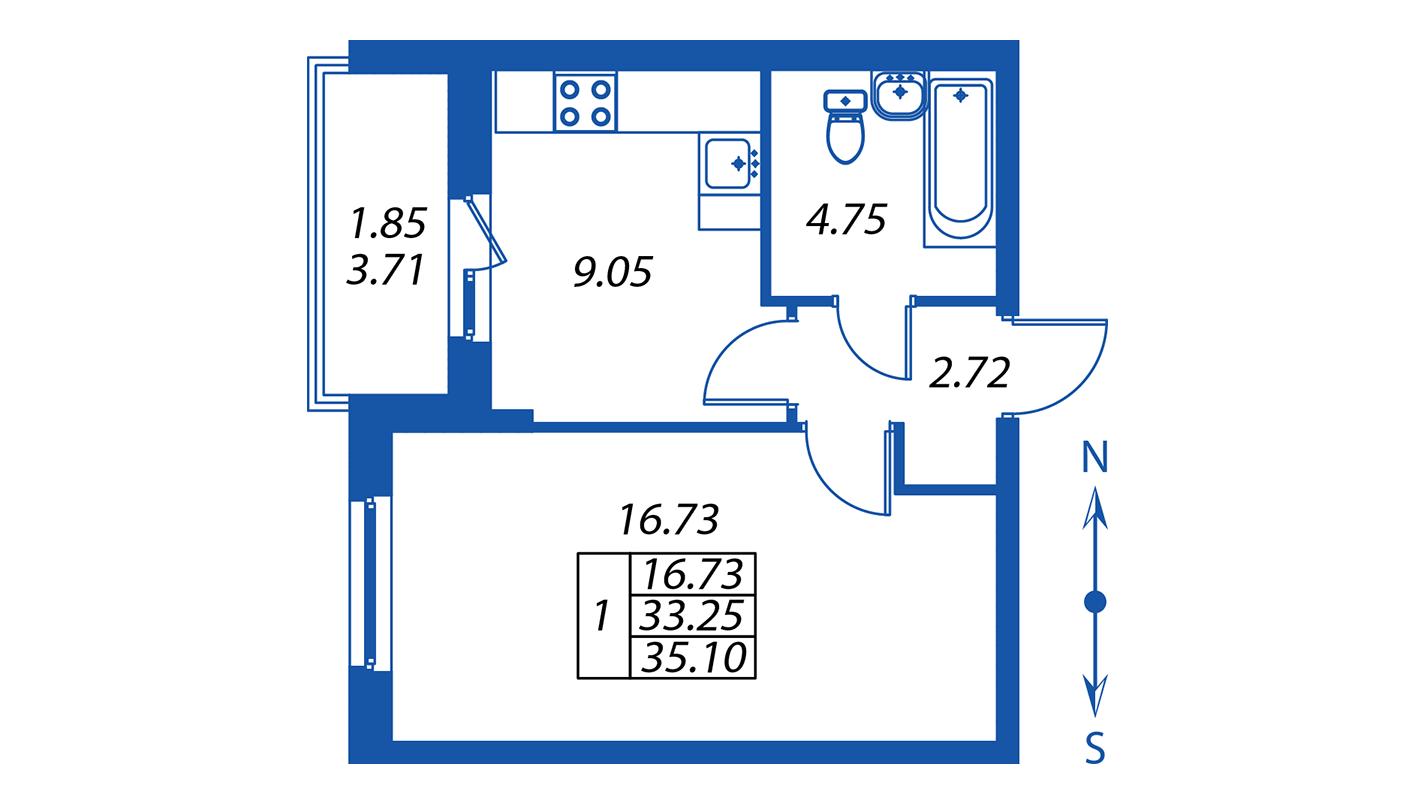 Планировка Однокомнатная квартира площадью 33.3 кв.м в ЖК ««Полис на Комендантском»:-:ЖК Полис на Комендантском, корпус 2»