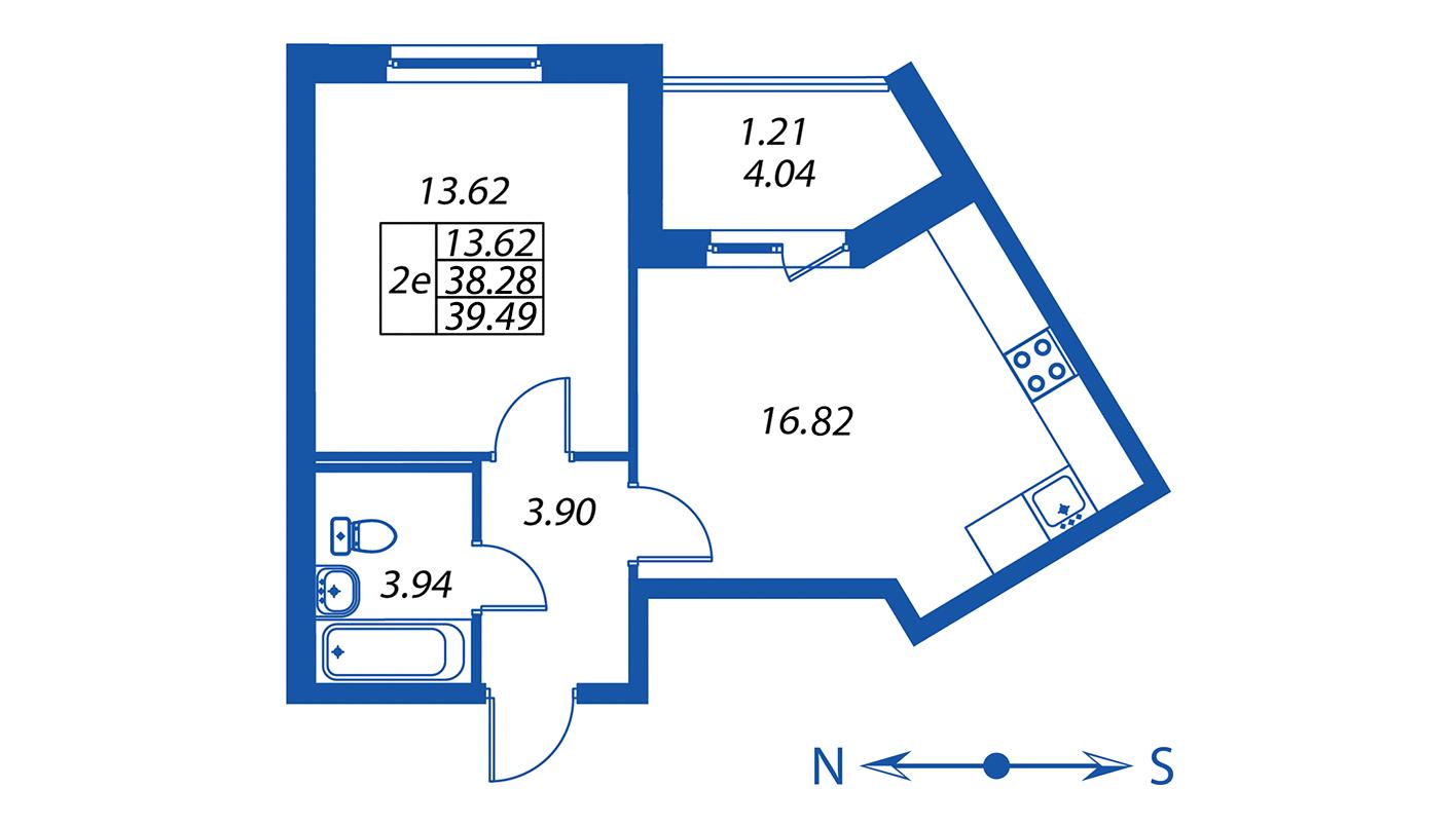 Планировка Двухкомнатная квартира площадью 38.3 кв.м в ЖК ««Полис на Комендантском»:-:ЖК Полис на Комендантском, корпус 2»