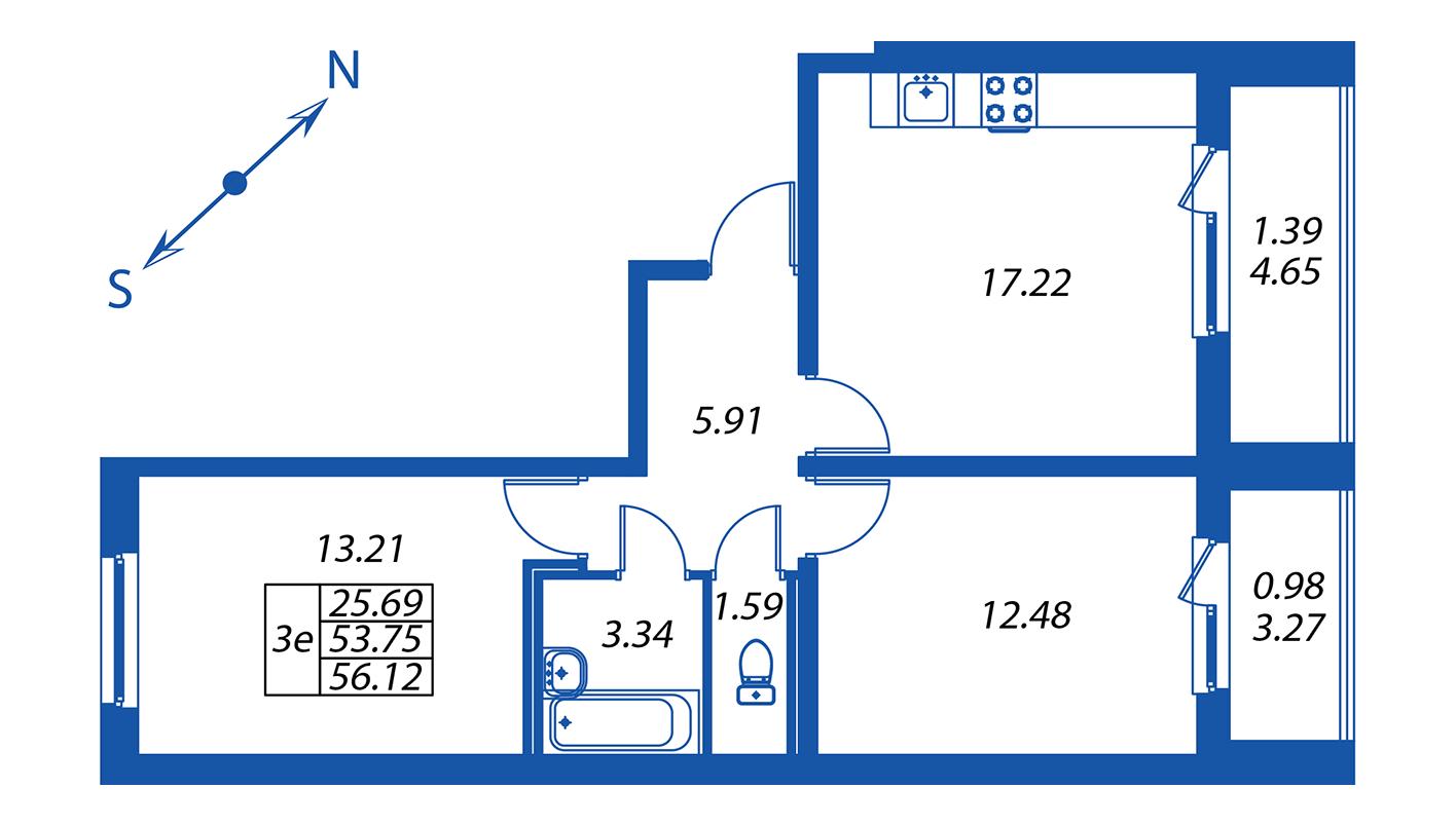 Планировка Трёхкомнатная квартира площадью 53.8 кв.м в ЖК ««Полис на Комендантском»:-:ЖК Полис на Комендантском, корпус 1»
