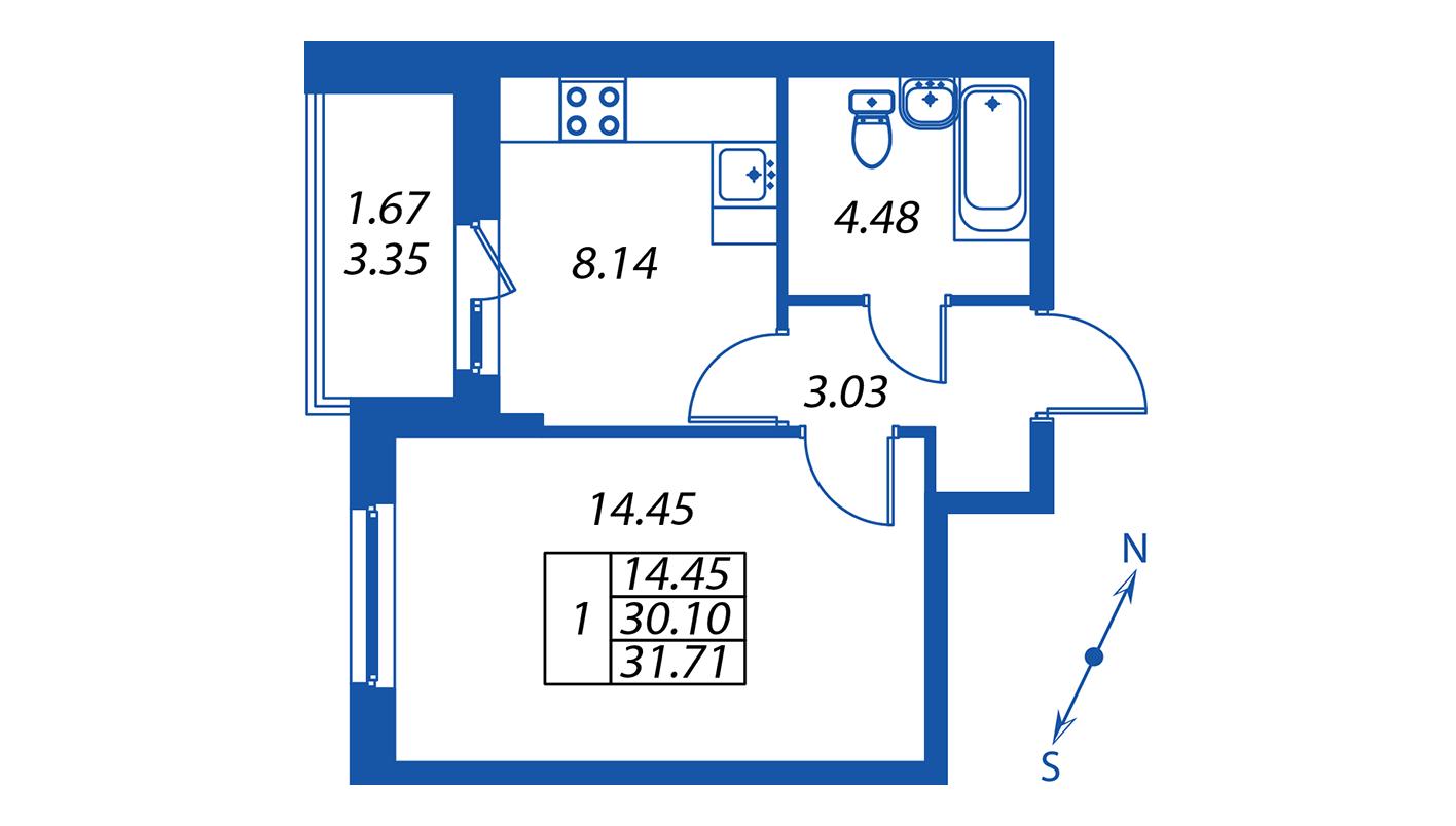 Планировка Однокомнатная квартира площадью 30.1 кв.м в ЖК ««Полис на Комендантском»:-:ЖК Полис на Комендантском, корпус 1»