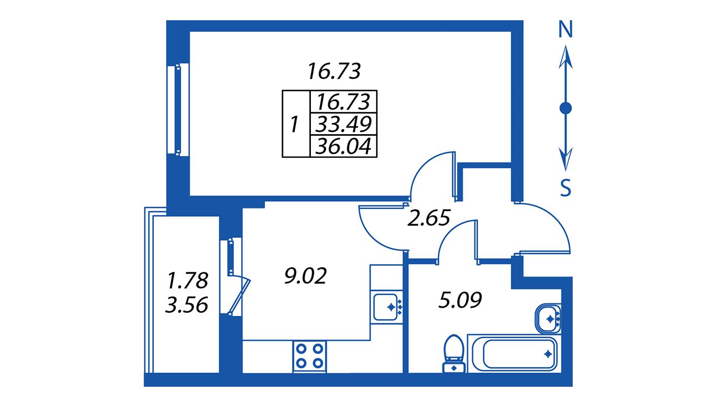 Планировка Однокомнатная квартира площадью 33.5 кв.м в ЖК ««Полис на Комендантском»:-:ЖК Полис на Комендантском, корпус 2»