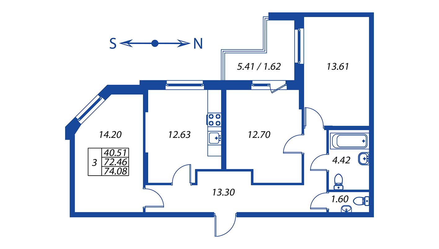 Планировка Трёхкомнатная квартира площадью 72.6 кв.м в ЖК ««Полис на Комендантском»:-:ЖК Полис на Комендантском, корпус 2»