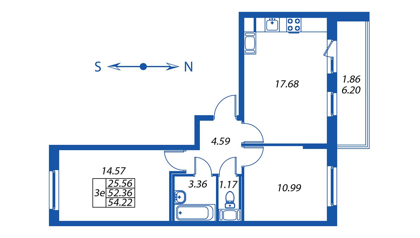 Планировка Трёхкомнатная квартира площадью 52.4 кв.м в ЖК ««Полис на Комендантском»:-:ЖК Полис на Комендантском, корпус 2»