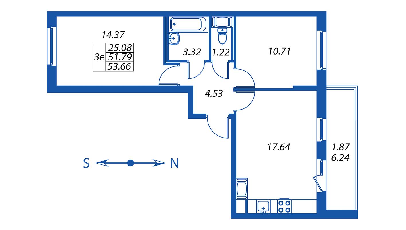 Планировка Трёхкомнатная квартира площадью 51.8 кв.м в ЖК ««Полис на Комендантском»:-:ЖК Полис на Комендантском, корпус 2»