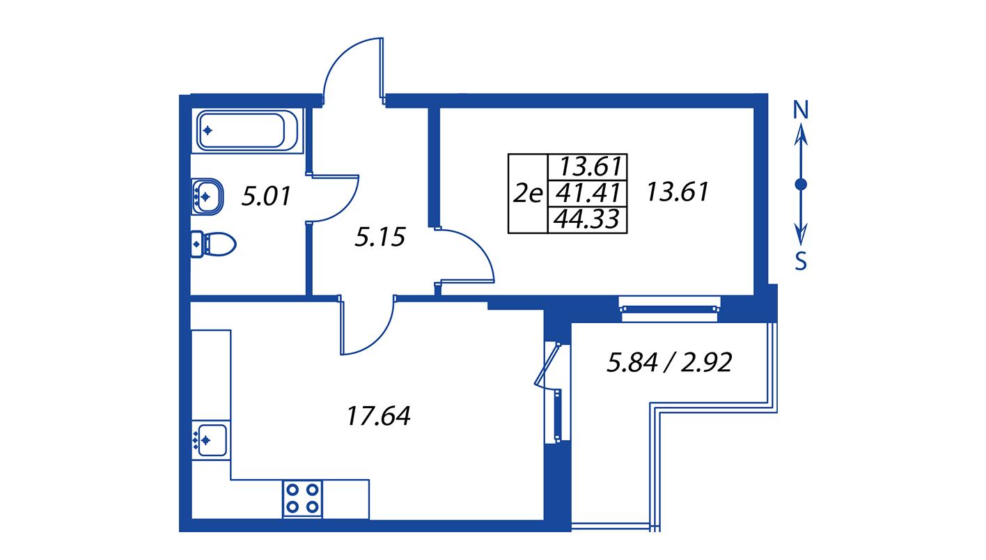Планировка Двухкомнатная квартира площадью 41.2 кв.м в ЖК ««Полис на Комендантском»:-:ЖК Полис на Комендантском, корпус 2»