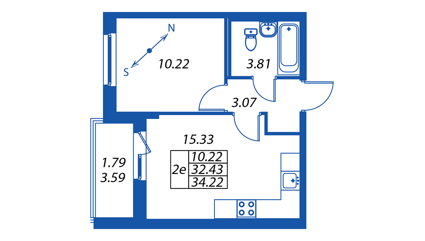 Планировка Двухкомнатная квартира площадью 32.3 кв.м в ЖК ««Полис на Комендантском»:-:ЖК Полис на Комендантском, корпус 1»