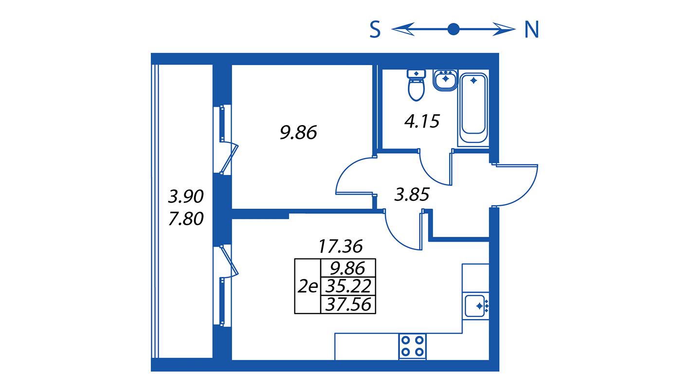 Планировка Двухкомнатная квартира площадью 35.2 кв.м в ЖК ««Полис на Комендантском»:-:ЖК Полис на Комендантском, корпус 2»