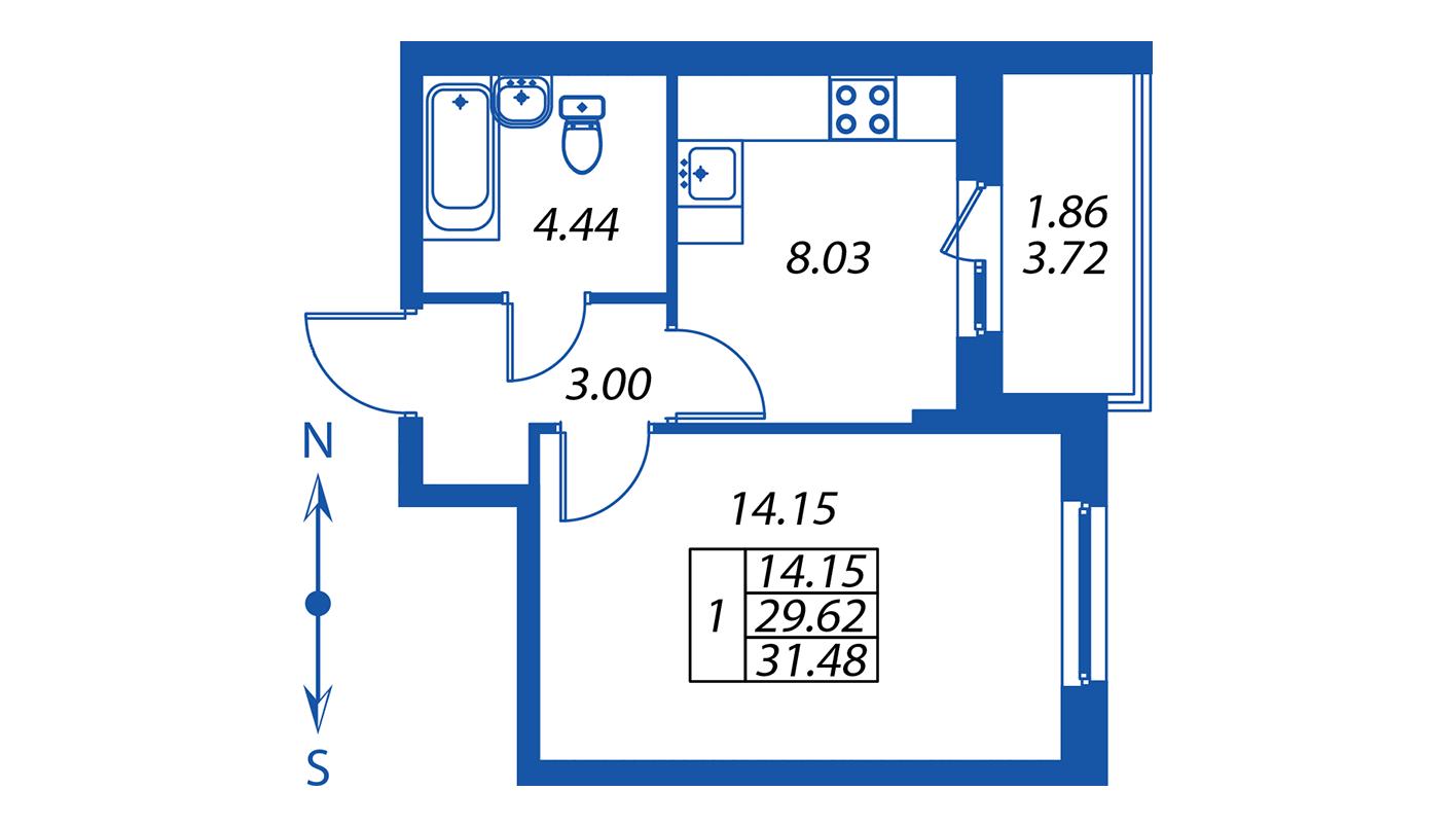 Планировка Однокомнатная квартира площадью 29.6 кв.м в ЖК ««Полис на Комендантском»:-:ЖК Полис на Комендантском, корпус 2»