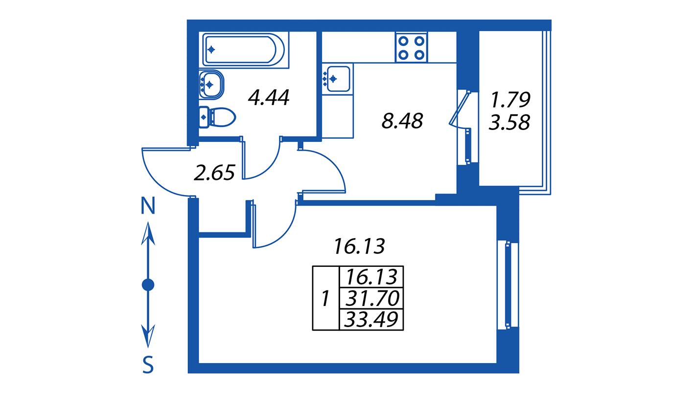 Планировка Однокомнатная квартира площадью 31.7 кв.м в ЖК ««Полис на Комендантском»:-:ЖК Полис на Комендантском, корпус 2»