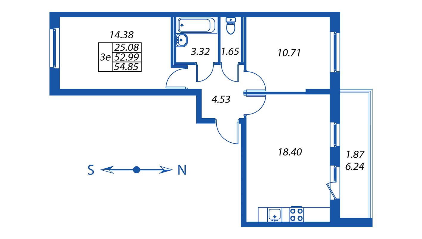 Планировка Трёхкомнатная квартира площадью 53 кв.м в ЖК ««Полис на Комендантском»:-:ЖК Полис на Комендантском, корпус 2»