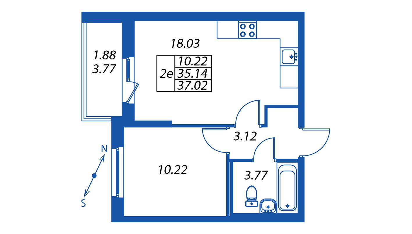 Планировка Двухкомнатная квартира площадью 35.1 кв.м в ЖК ««Полис на Комендантском»:-:ЖК Полис на Комендантском, корпус 1»