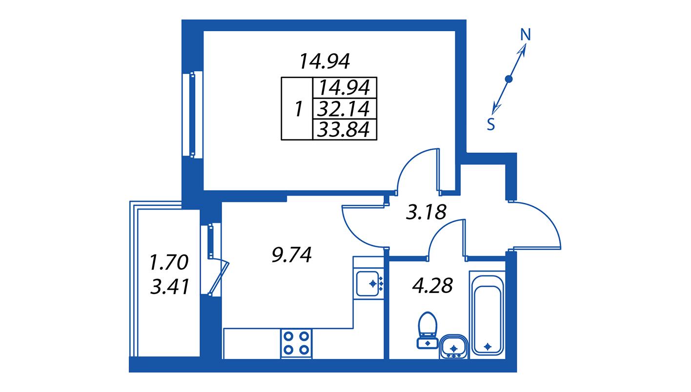 Планировка Однокомнатная квартира площадью 32.1 кв.м в ЖК ««Полис на Комендантском»:-:ЖК Полис на Комендантском, корпус 1»